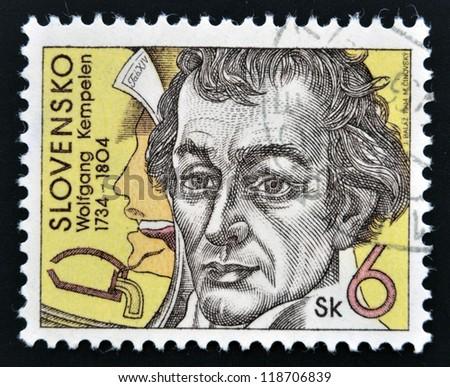 SLOVAKIA - CIRCA 1994: A stamp printed in Slovakia shows Wolfgang von Kempelen, circa 1994