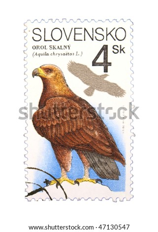 SLOVAKIA - CIRCA 1993: A stamp printed in the USA showing eagle circa 1993