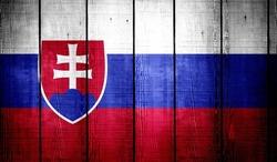 Slovakia Flag on old wood texture background