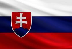 Slovakia flag with fabric texture