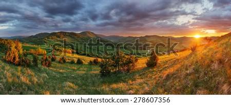 Slovakia Mountain meadow sunset, panorama #278607356