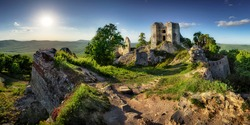 Slovakia - Ruin of castle Gymes at sunset, Europe