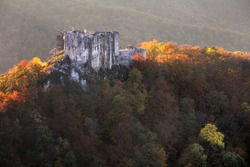 Slovakia - ruin of castle Uhrovec at nice auumn sunset landscape