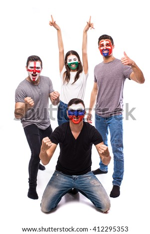 Slovakia, Wales, Russia, England on white background. Football fans of national teams celebrate, dance and scream. European football fans concept. #412295353