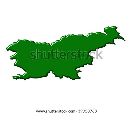 Slovenia 3d map with national color
