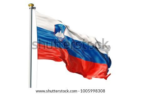 Slovenia flag. Isolated 3d Slovenia flag