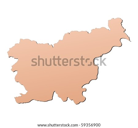 Slovenia map filled with brown gradient. Mercator projection.