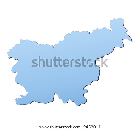 Slovenia map filled with light blue gradient. High resolution. Mercator projection.
