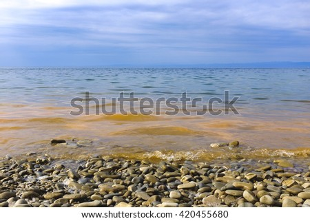 Slovenia. Sea waves on the shore. #420455680