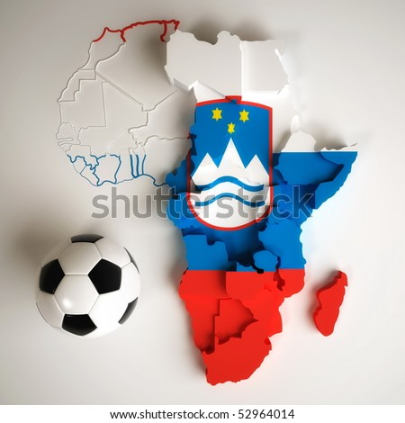 Slovenian flag on map of Africa with national borders