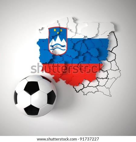 Slovenian flag on map of Poland with state borders - stock photo