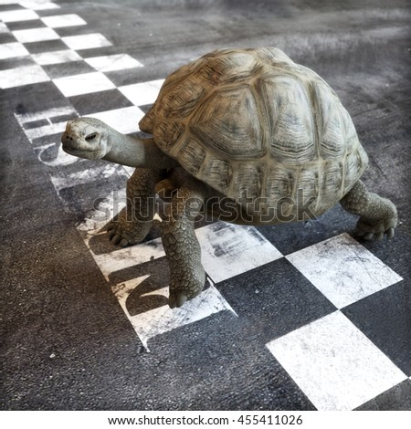 Slow and steady wins the race. A turtle crossing the finish line of a race. Ambition , goals ,determination, successful , achievement concept in business and life .  3d rendering