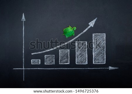 Photo of  Slow but stable investment or low fluctuate stock market concept, miniature figure turtle or tortoise walking on chalkboard with drawing price line graph of stock market value