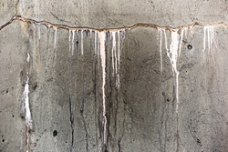 Slow dripping cracked concrete wall on old water tank.