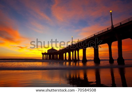 Slow exposure of a spectacular sunset over the Manhattan Beach Pier - Los Angeles, California.