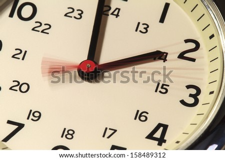 Slow exposure of a watch\'s second hand showing 5 seconds elapsed