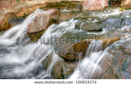Slow flowing stream and rocks