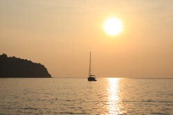 slow shutter night,  landscapes of nature. languid evening at sea with the gentle sunset sun.