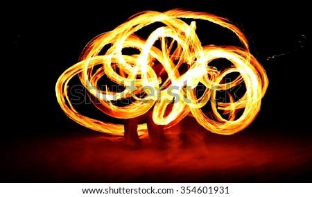 slow shutter speed of fire show