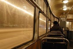 Slow shutter speed photo inside old Warsaw Tram.