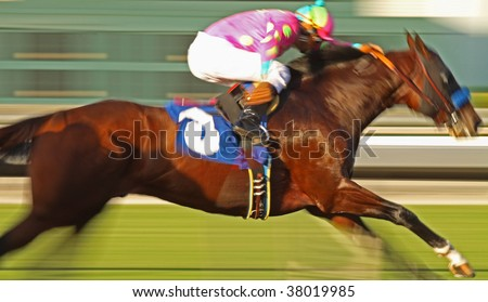 Slow shutter speed rendering of racing horse and jockey with deliberate high saturation - stock photo