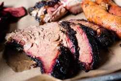 Slow smoke sliced beef brisket bbq southern style,