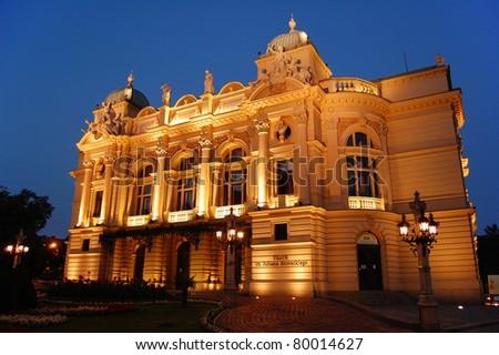 Slowackiego theater in early night in Krakow