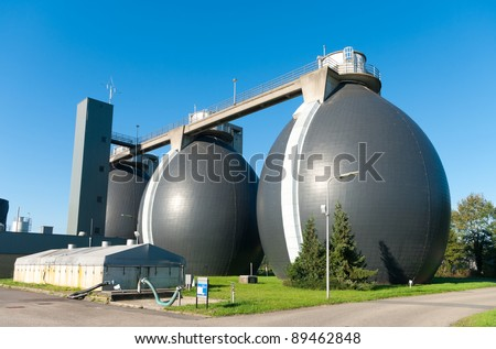 sludge digestion installation on a waste water plant. Here is methane produced and used for the energy supply for the plant