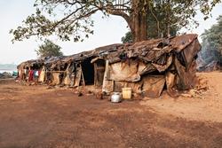 Slum house near the river, Goa, India