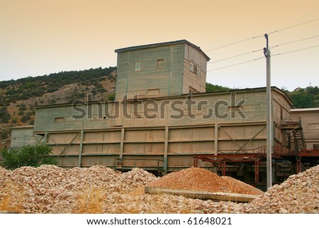Small abandoned factory in desert