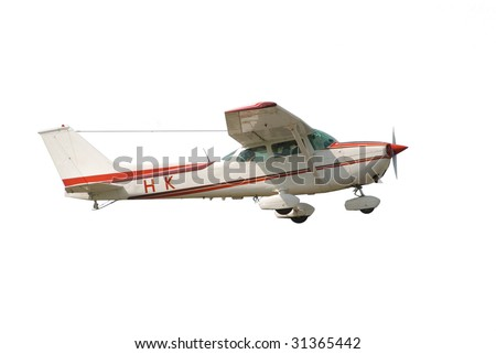 Small airplane isolated on white background