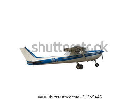 Small airplane isolated on white background - stock photo