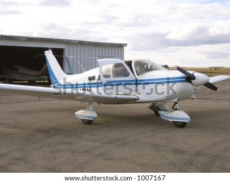 small airplane preparing for take off