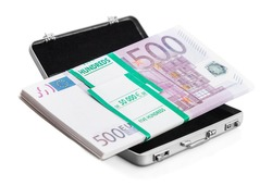 small aluminum suitcase full of euro. Focus on the bills and the European flag