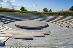 Small ancient roman amphitheatre in the park
