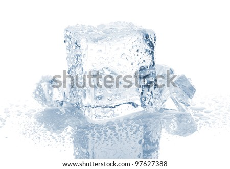 Small and big ice cube with water drops on white background