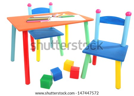 Small and colorful table and chairs for little kids isolated on white