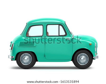 Small and cute cartoon bunchy retro car, side view, isolated on white background. 3d illustration