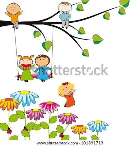 Small and happy kids  in colorful garden