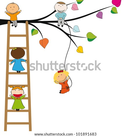 Small and happy kids on colorful tree
