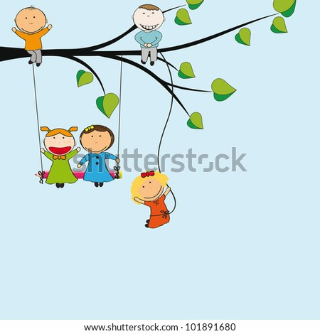 Small and happy kids on green tree