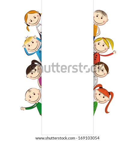 Small and smile boys and girls with banner