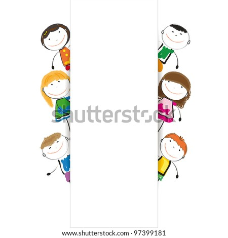 Small and smile kids with banner