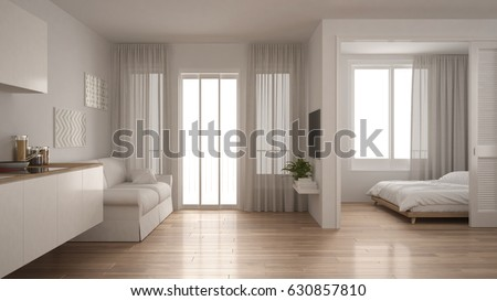 Small apartment with kitchen, living room and bedroom, white minimalist interior design, 3d illustration
