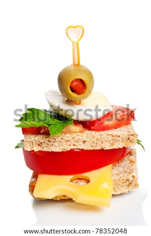 Small appetizer sandwich isolated on white