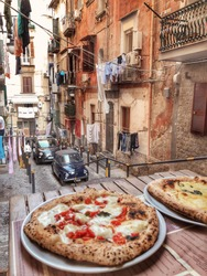 Small Authentic Neapolitan Street and Pizza in Italian Trattoria