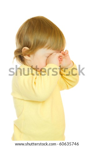 Small baby in yellow dress isolated