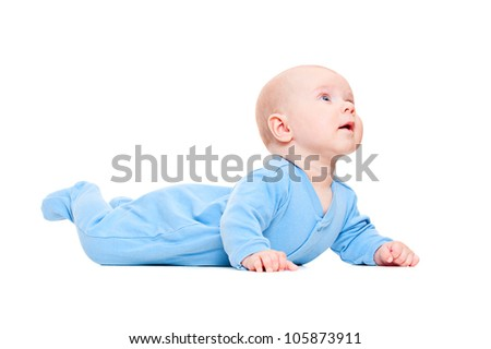 small baby lying and looking up. isolated on white background