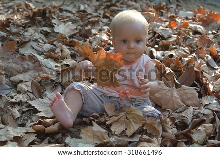 Small baby playing in autumn leaves in sunny weather