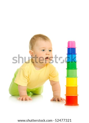 Small baby with toy pyramid #5 isolated on white